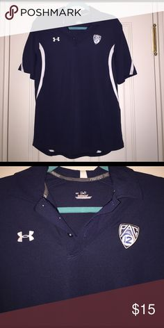 Under Amrour PAC-12 Golf Polo This item is rare. It's sweat wicking material makes it a great item to wear golfing or other physics activities. Only worn twice. Men's small Under Armour Tops Button Down Shirts