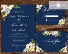 Navy Floral Wedding Invitations, Navy Wedding, Navy, Grey, Yellow, Spring Wedding, Summer Wedding, Watercolor Invite, DIY, jadorepaperie