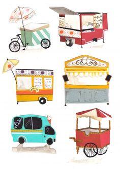 Illustrations Street Food Vendors, designed for London Street Foodie by Emma Block
