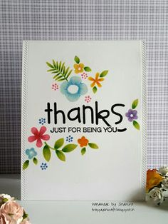 Thanks card by Sindhu - Paper Smooches - Botanicals 3, Bold Buzzwords