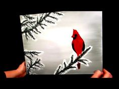 How to paint a cardinal in the snow (WINTER scene) - YouTube