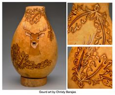 Tooled Leather Gourd by Christy Barajas