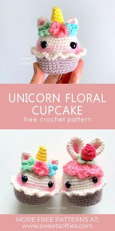 Crochet Cupcake, Crochet Food, Crochet Crafts, Crochet Projects, Crochet Amigurumi Free Patterns, Crochet Animal Patterns, Stuffed Animal Patterns, Crochet Unicorn Pattern Free, Crochet Keychain Pattern