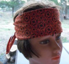 BANDANA Orange Print Handmade Large Cotton Womens Men by silcoon52, $5.99