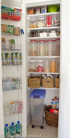 how to organize and create a pantry closet using plastic clear bins / Our Organized Kitchen Pantry {closet} Reveal