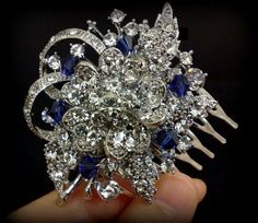 Something Blue Bridal Hair Comb, Sapphire Blue Hair Jewelry, Crystal Headpiece, Custom Color Accents, BLUE BOUQUET on Etsy, $67.00
