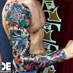 60 Traditional Tattoo Sleeve Designs For Men - Old School Id.- 60 Traditional Tattoo Sleeve Designs For Men – Old School Ideas Colorful Male Traditional Sleeve Tattoo Designs - Colorful Sleeve Tattoos, Best Sleeve Tattoos, Tattoo Sleeve Designs, Tattoo Designs Men, Space Tattoo Sleeve, Fake Tattoos, New Tattoos, Body Art Tattoos, Tattoos For Guys