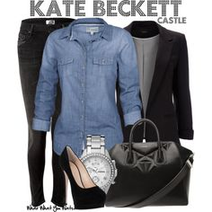 Inspired by Stana Katic as Kate Beckett on Castle. Love Beckett. She's so stylin' and kick ass. But I have no idea how she chases bad guys down in those heels.