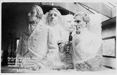 Original design of Mount Rushmore / The presidents were to be depicted from head to waist, but the sculpture was scaled back due to insufficient funding.