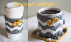 crochet mug cozy pattern | Crochet Pattern - Caffeinated Chevrons - Cup Cozy, Mug Cozy, & Mug Rug