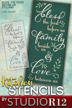 "StudioR12's ""Bless the Food Before Us"" design, with laurels, hearts and foliage, is a sweet accent piece that you can create for your kitchen, dining room or entertainment area. It is a perfect fit for any style, country, boho, farmhouse or traditional. Our stencils are made with high quality reusable mylar so you can experiment with color, or paint one for yourself and one as a gift! We also offer wood surfaces and brushes! USA Made in Ohio, Quick Shipping & 100% Guaranteed! (STCL3565)"