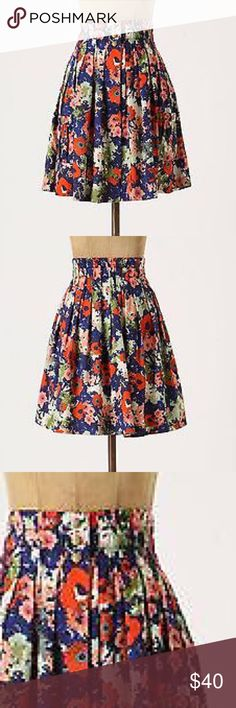 "Anthropologie Apothecary Skirt by Parameter Anthropologie Apothecary Skirt by Parameter. Like candied gems or petal-rich potpourri housed within display jar curves, patterened sateen drapes from the banded waistline of this pleated A-line skirt. Front Pockets. Snap closure. 100% Cotton. 21""L. Worn one time. Excellent condition. Anthropologie Skirts A-Line or Full"