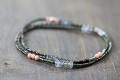 Beaded Wrap Bracelet Seed Bead & Gemstone by MoonLabJewelry