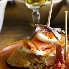 Smoked salmon & quail's egg. Tuck in this pintxos-inspired topped bread dish for a flavour of San Sebastian in northern Spain Quail Recipes, Tapas Recipes, Bbc Good Food Recipes, Egg Recipes, Appetizer Recipes, Spanish Recipes, Savoury Recipes, Cheese Recipes, Shrimp Recipes
