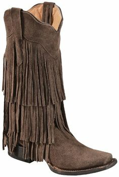 Tanner Mark Women's Chocolate Suede Fringe Cowgirl Boot Square Toe