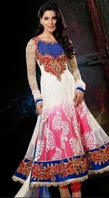 Heavily Embroidered Multi Colored Anarkali