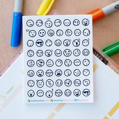 56 Emojis / Smiley Doodle Mini Icons -  Black & White Hand Drawn Sticker Planner by FasyShop on Etsy
