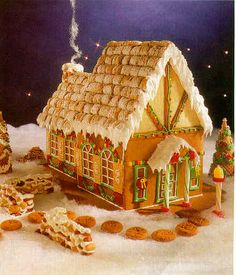 (mini wheats for roof..) Fairy Tail cottage made of gingerbread - a gingerbread house to be proud of! Complete with pictures, patterns and directions
