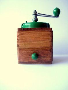 Vintage French coffee grinder green Shabby chic kitchen decor housewares. $66.00, via Etsy.