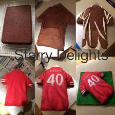 football shirt cake tutorial...wouldn't a cake of each jersey be cool for graduation?