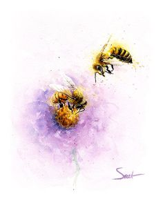 Life is just better with animals around! Light up your room and spirit with this original watercolor honeybee painting. I try to avoid them but sure am thankful for all they do and for all the honey they make me! I truly hope you enjoy this meaningful original artwork.  *PRINTS of this original painting can be found here: https://www.etsy.com/listing/237319908/bee-art-print-watercolor-bee-painting? ________________________________________________________  SIZE: this piece measures 8 x 10…