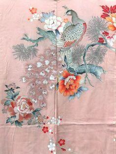 ☆ New Arrival ☆ #Womens #pink #vintage #Japanese #silk #peacock & #flower #haori #kimonojacket from #FujiKimono