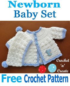Crochet Baby Ideas Baby shower gift set, a free crochet pattern for a newborn baby, consists of coat and hat. Crochet Baby Jacket, Crochet Baby Blanket Beginner, Crochet Baby Sweaters, Crochet Baby Clothes, Baby Knitting, Newborn Crochet Patterns, Baby Patterns, Baby Set, Baby Boy Sweater