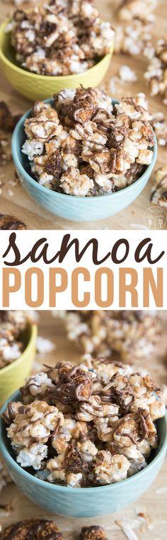 Samoa Popcorn - This amazing samoa popcorn has the same great flavors of Samoas ., Desserts, Samoa Popcorn - This amazing samoa popcorn has the same great flavors of Samoas cookies - homemade caramel popcorn packed full of toasted coconut, sam. Sweet Popcorn, Popcorn Snacks, Flavored Popcorn, Gourmet Popcorn, Popcorn Balls, Candy Popcorn, Pop Popcorn, Homemade Popcorn, Fancy Desserts