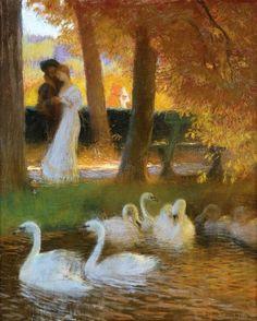 La Touche, Gaston (b,1854)- Couple Walking by Swan Pond