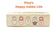 Wooden Rubber Stamp - Rectangular Stamp Series - Matryoshka - 1 Pcs