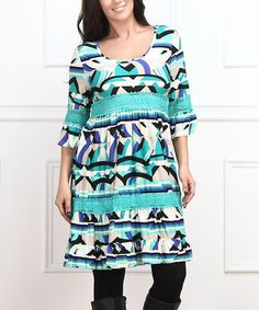 24fd5179f0a Another great find on #zulily! Mint Geo Empire-Waist Dress - Plus #