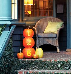 Fun alternative to the standard jack o' lantern- carve your house numbers instead. Would be fun to use the faux pumpkins to use year after year. Via myhomeideas.com
