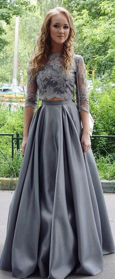 Modest Tulle & Satin Jewel Neckline Two Pieces A-Line Prom Dress With Lace Appliques