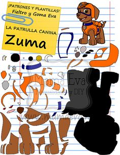#patron gratis para hacer a Zuma de la Patrulla Canina en #fieltro (español) Ver patron >>> http://ow.ly/w6gy301jBYd