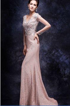 CLF130-1 Pink lace Evening Dresses Long Sleeve Evening Gowns 4602e48d82c