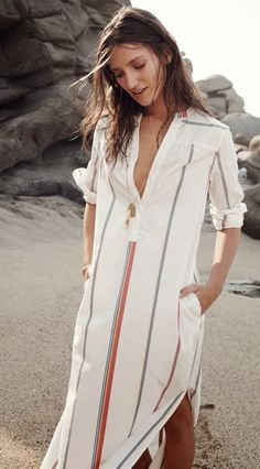 Absolutely adore this shirt dress. Perfect to throw on almost anywhere! Dress up or take it to the beach.
