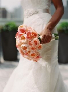 PInk and peach bridal bouquet with #calalillies, #roses, #gardenroses. Photo: Carmen Santorelli