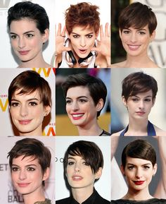Cool Short Hairstyles, Pixie Hairstyles, Pixie Haircut, Short Hair Styles, Long Pixie, Pixie Cut, Brown Pixie Hair, Anne Hathaway, Beauty Full
