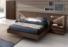 walnut wood floating bed design #bed #frame #bedroom