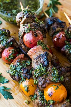 Grilled Steak Kebabs with Chimichurri Sauce   thecozyapron.com #glutenfree #grainfree #realfood