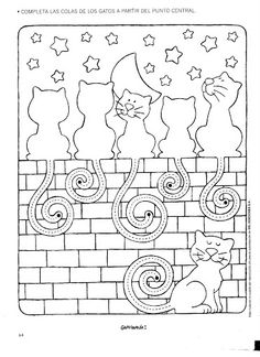 kitty cat coloring pages cats ona wall staring at stars Cat Coloring Page, Colouring Pages, Adult Coloring Pages, Coloring Sheets, Coloring Books, Pre Writing, Writing Activities, Doodle Art, Embroidery Patterns