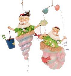 Santas in seashells--Sold out-unavailable. Coastal Christmas, Santa Ornaments, Seashells, Hand Carved, Carving, Create, Holiday Decor, Beach, Fun