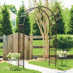 Deer Park Ironworks Solera 7-ft. Steel Arch Arbor | from hayneedle.com