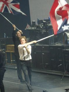 Paul McCartney in Puerto Rico 2010 concert waving the Puerto Rico flag.