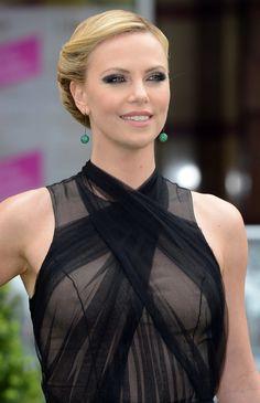 sheer dresses | Charlize Theron black sheer dress green earrings black smokey eyes ... | Favorite dresses | Pinterest | Charlize Theron, Black Smokey Eye ...
