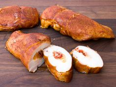Smoked Chicken Breast Stuffed with Cheese and Chorizo Recipe - Stuffed boneless skinless chicken breast and smoked with hickory, apple, maple, cherry wood. Bradley Electric Smoker and stuffed with chorizo and grated cheese. Chorizo Recipes, Pork Recipes, Chicken Recipes, Chicken Meals, Kraft Foods, Kraft Recipes, Smoked Chicken Breast Recipe, Homemade Shake And Bake, Smoked Cheese