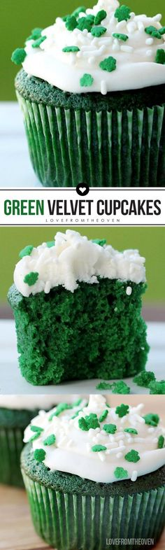 These green velvet cupcakes are perfect for a St. Patrick's Day dessert recipe!  Made from scratch, they come together quickly and easily and are topped with cream cheese frosting.