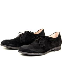 """- Lace up shoe - Handmade in Italy - Oiled suede - Leather upper, lining, footbed & sole - Leather soles with protective rubber insets - ½"""" Heel - Lace tie closure - Clean and classic style - Women's European whole sizes - Fits true to size - Order larger if you are a half size"""