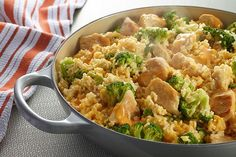 Not a math whiz? This one's easy. 1 skillet + 5 ingredients + 25 minutes = a cheesy chicken, broccoli and rice dish. Now that's a tasty equation.