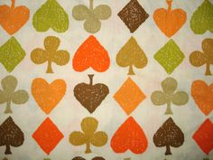 Vintage Cotton Fabric - Spades - Hearts - Green and Orange